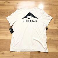 Nike Trail Men Dri-Fit Outdoor Running Tan Beige T Shirt  Size 2XL CI2381-104
