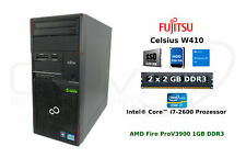 Fujitsu celsius w410 i7-2600 4gb RAM 500gb HDD 120gb SSD win10 AMD Fire Pro