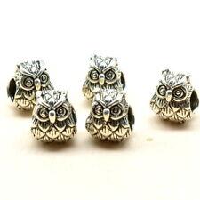 5pcs Silver Owl Charms Beads fit European Charm Bracelet Necklace