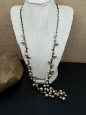 """J. Crew Dusty Pink Faux Pearl and Burnished Rectangle Chain Necklace 30"""""""