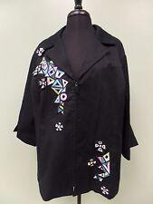 Bob Mackie Jacket Wearable Art Full Zip Black Stretch Cotton Blend Women's Sz 2X