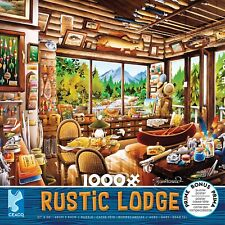 RUSTIC LODGE - FISHING MAP & GUIDE - 1000 PIECE JIGSAW PUZZLE -BRAND NEW 3161-2
