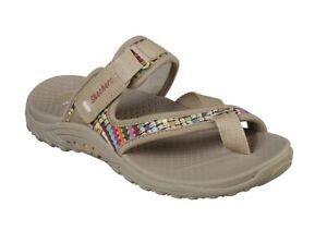 Skechers Women's Reggae-Mad Swag-Toe Thong Woven Sandal Dark Natural Size 11