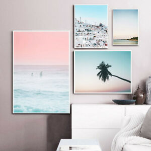 Ocean Sunset Landscape Poster Nordic Pink Sky Art Canvas Print Simple Painting