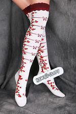 SO-16 blanc fraises gothique lolita Chaussettes Cuissardes Bas bas