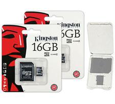 Lot of 2 Kingston 16GB Micro SD SDHC Class 4 microSD Flash Memory Card + CASE