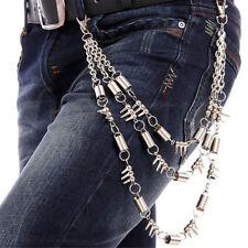 Fashion Men Hip Hop Rock 3 Layers Key Chain Pants Trousers Jean Wallet Gothic