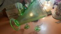 Mermaid scales VINTAGE GREEN DEPRESSION GLASS PITCHER w 2 cups