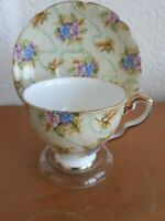 Vintage Royal Stafford Elizabeth Chintz Floral Flower Gold Gilt Tea Cup & Saucer
