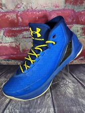 Under Armour Steph Curry 3 Basketball Shoes Mens 9.5 Dub Nation Away Blue Yellow