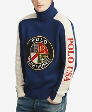 21770033 Polo Ralph Lauren Mens Crest Cookie Downhill Ski Wool Turtleneck Sweater  Blue L.