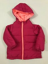 Carters NWT Size 4 Little Girls Contrast Trim Puffer Jacket Coat Pink Navy