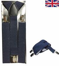 5e4aaea3a Diseño De Punto Unisex Azul Marino para Hombre 35 mm Ancho Ajustable Tirantes  Tirantes Elástico UK