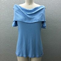 Michael Kors Light Knit Off The Shoulder Top Blouse Women's L Blue Short Sleeve