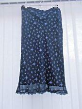"LAURA ASHLEY Blue Floral Silk Skirt UK 12 with 30"" waist"