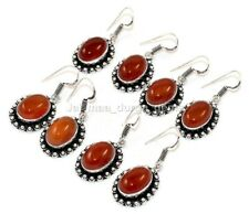 20 Pair Natural Carnelian 925 Sterling Silver Plated Dangle Lot Earrings Be1