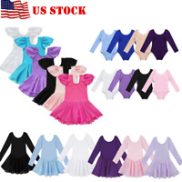 US Kids Girls Ballet Dance Dress Gymnastics Leotard Tutu Skirt Costume Dancewear