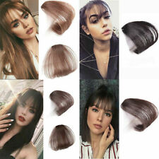 Thin Air Neat Wispy Bangs Real Remy Human Hair Clip In Fringe Front Hairpiece UK