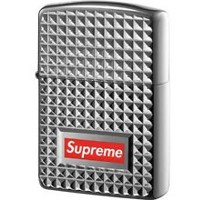 SUPREME Diamond Cut Zippo Silver lighter box logo camp cap tnf F/W 17