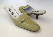 PRADA Sz 6 US / 36.5  EU Light Green Kitten Heel Slides Mules Worn Once ~ EUC