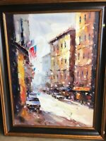 Oil on Canvas Painting - City Street Scene, Signed