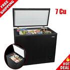 Chest Deep Freezer 7 Cu Ft Frozen Food Storage Ice Fridge With Basket, Black NEW photo