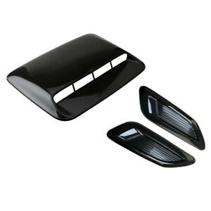 3PCS Car Side Air Flow Vent Intake Cover Fender+Hood Scoop Center Sticker w/Tape
