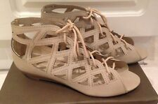 NOVO Roman Lace Up Wedges Sandals Shoes Beige Stone *BRAND NEW* $59.95  - 6
