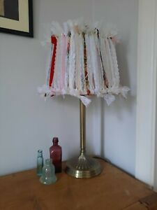 Modern brushed metal Table Lamp with rag ribbon lace design shabby chic shade