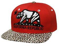 California Republic Leopard Print Flat Bill Snapback Cap (Red/White)