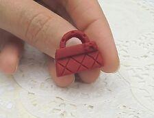 BAGUE mini Sac à Mains Rouge en Fimo Taille ajustable idée cadeau Neuf & unique