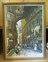 Olde European Street Scene Original Oil Canvas Painting Signed Artist Framed