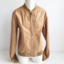 Sean John Bomber Jacket Mens S Front Zip Elastic Hem/Sleeves Beige Spellout