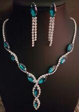 9k Gold Filled Swarovski Crystal Pendant Necklace Chain Earring Set Wedding Prom