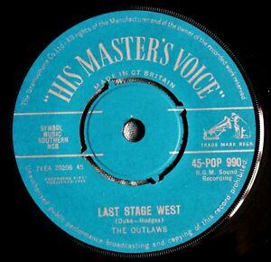 "THE OUTLAWS Last Stage West / Ku-Pow! UK 7"" HMV 45-POP 990 NMINT 1962 Joe Meek"