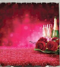 Champagne Roses Love Fabric SHOWER CURTAIN Anniversary Valentines Heart Birthday