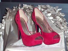 DOTS RUBY RED SEXY HIGHHEEL OPEN TOE/INSTEP STUDDED PLATFORM DRESS SHOES SZ 10