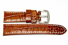24MM BROWN CROCODILE GRAIN GORGEOUS LEATHER WATCH BAND STRAP FIT PANERAI LUMINOR