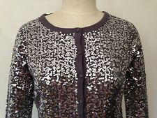 BNWT Designer LAURA ASHLEY Allover SILVER sequin Cardigan XS, $159