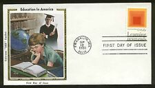 1833 AMERICAN EDUCATION FDC FRANKLIN, MA COLORANO SILK CACHET