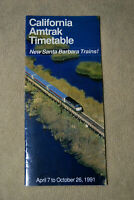 Amtrak California Timetable - April 7 to Oct 26, 1991