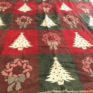 Fieldcrest Christmas Tapestry Throw Blanket  100% Cotton Loom Woven