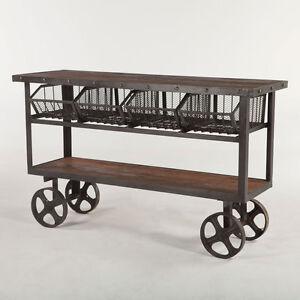 "60"" L Table cart teak wood shelves 4 drawer industrial design black iron frame"