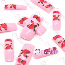 50pcs Acrylic False French Nail Art Full Tips IBN1-0019 Pink Base Red Strawberry