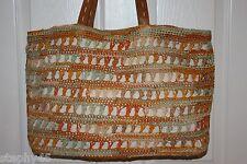 NEW! NWT! FLORABELLA Coral Multi Crochet Straw X Lg CAICOS Shoulder Tote Bag