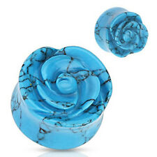 1 Pair 00 Gague Blue Turquoise Rose Carved Flower Saddle Double Flare Plugs