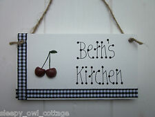 ROCKABILLY KITCHEN PERSONALISED DOOR SIGN PLAQUE GINGHAM BUNCH CHERRIES CHERRY