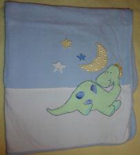 Little Me Blue & White Dinosaur Baby Blanket Cotton Knit Textured Moon Stars