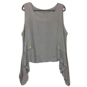 """Grey 100% Linen Lagenlook Vest Top Crochet Details Faux Pocket Pit To Pit 24"""""""