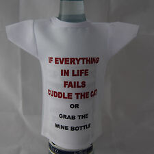Mini Bottle / miniature T-Shirt for cat and wine lovers